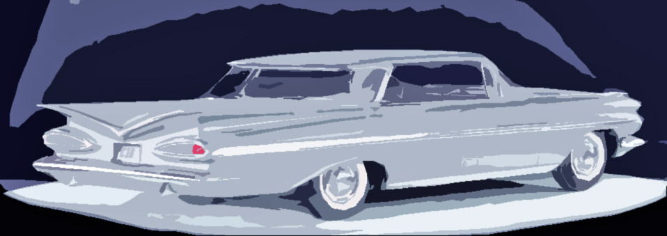 Chevy with its fancy tail fins